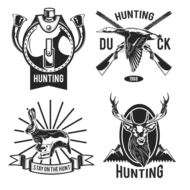 Set of hunting emblems Free Vector