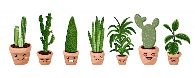 Set of hygge potted kawaii emoticon emoji succulent plants. cozy lagom scandinavian style collection of plants Premium Vector