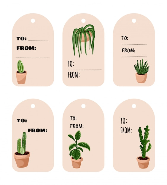 Set of hygge potted succulent plants gift tags. cozy lagom scandinavian style collection of labels Premium Vector