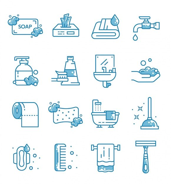 Set of hygiene icons with outline style Premium Vector