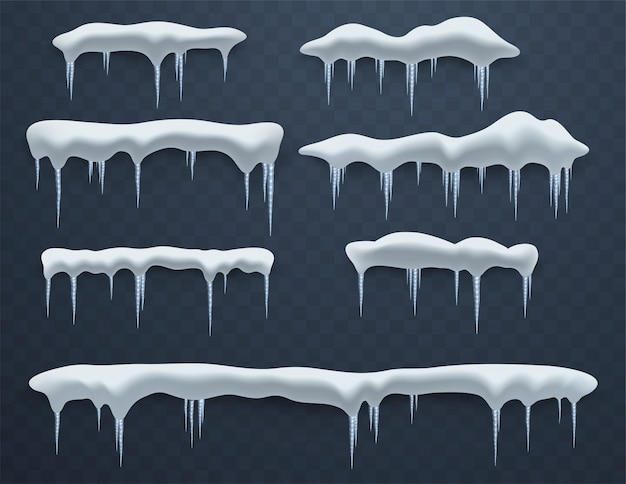 Set of ice caps. snowdrifts, icicles, elements winter decor, ice decorations. realistic snow masses. Premium Vector