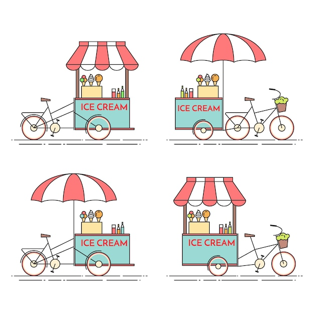Set of ice cream bicycles. cart on wheels. food kiosk . vector illustration. flat line art. elements for building, housing, real estate market, architecture design, property investment flyer, banner Premium Vector