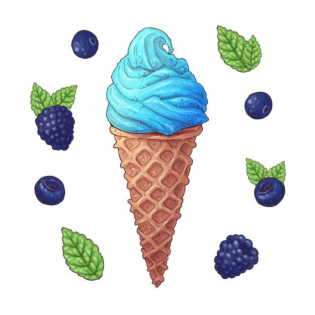 Set of ice cream cone vector illustration. Premium Vector