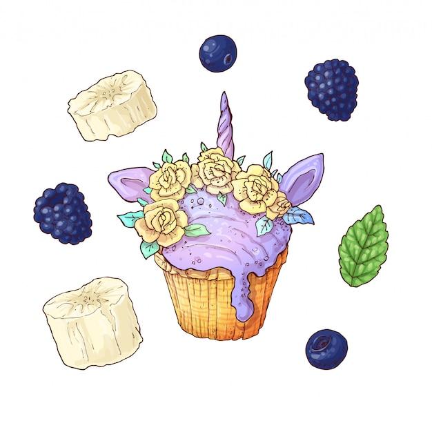 Set ice cup cake unicorn blackberry banana. Premium Vector