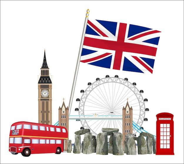 Set of icon and landmark of united kingdom england Premium Vector