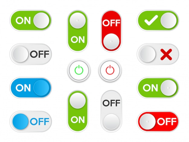 Set icon on and off toggle switch button. Premium Vector