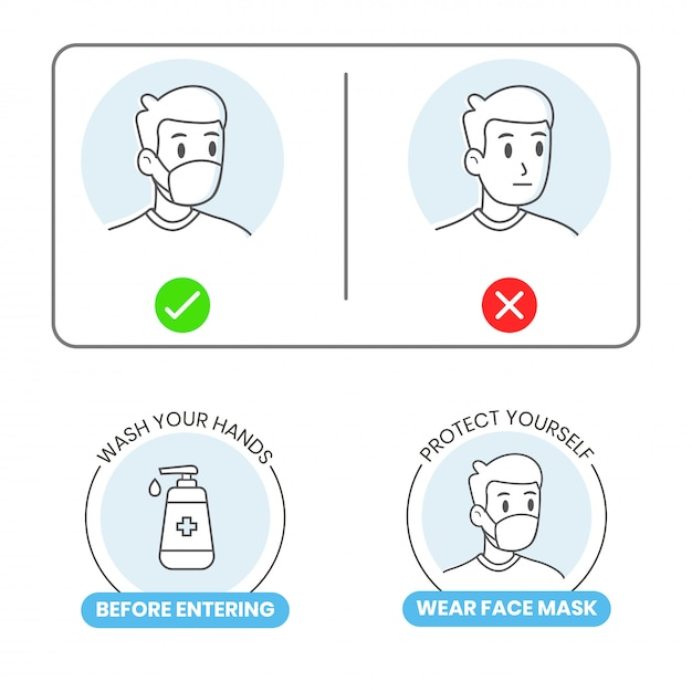 Set of icon sign for new normal after covid19 Premium Vector
