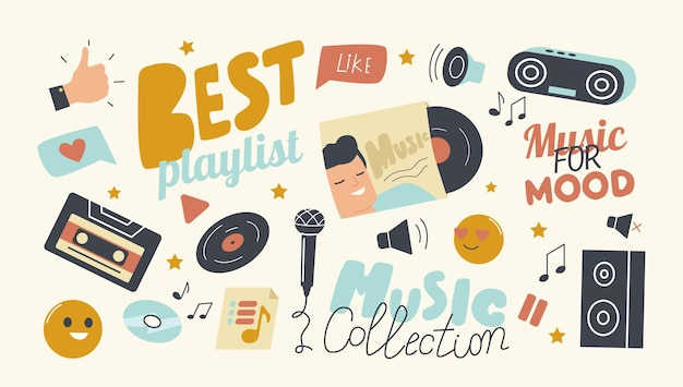 Set of icons best playlist for music collection theme Free Vector