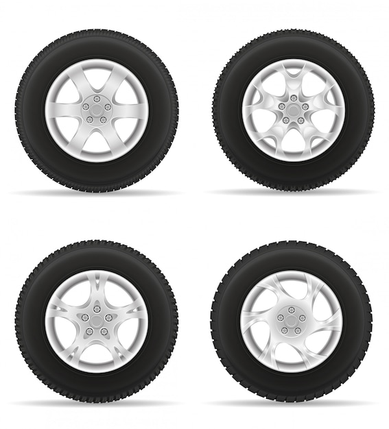Set icons car wheel tire from the disk Premium Vector
