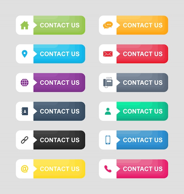 Set icons of contact us button isolated on white background. Premium Vector