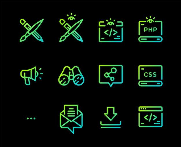 Set of icons of different professions. Premium Vector