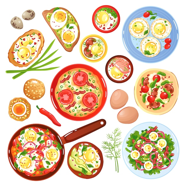 Set of icons dishes from quail and hen eggs with vegetables mushrooms and greenery isolated illustration Free Vector