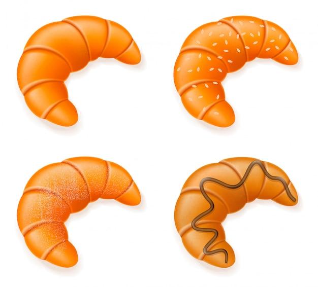 Set icons of fresh crispy croissants vector illustration Premium Vector