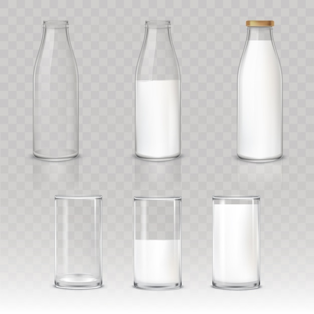 Set of icons glasses and bottles with a milk Free Vector