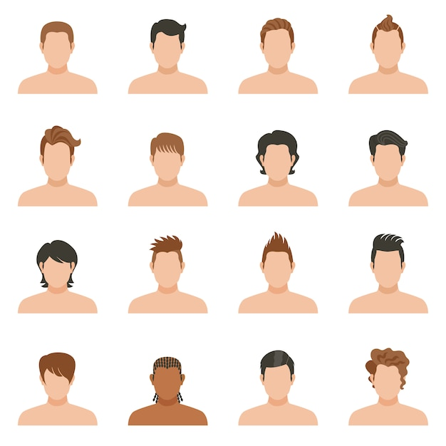 Set icons of hairstyle man Free Vector