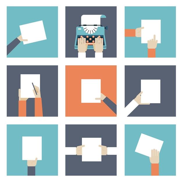 Set di icone mani che tengono pezzo di carta. Vettore gratuito
