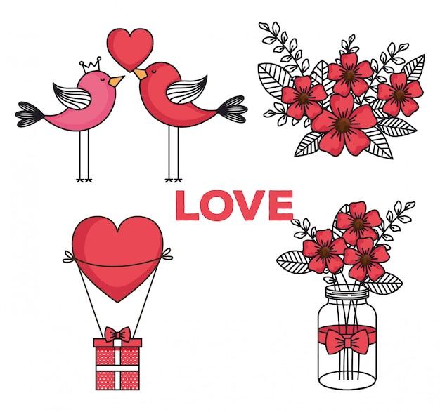 Set icons of happy valentines day Premium Vector