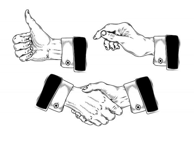 Set di icone mens mani facendo vari gesti Vettore gratuito