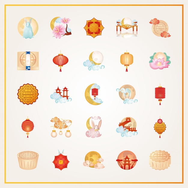 Set of icons mid autumn festival or chinese moon festival Premium Vector