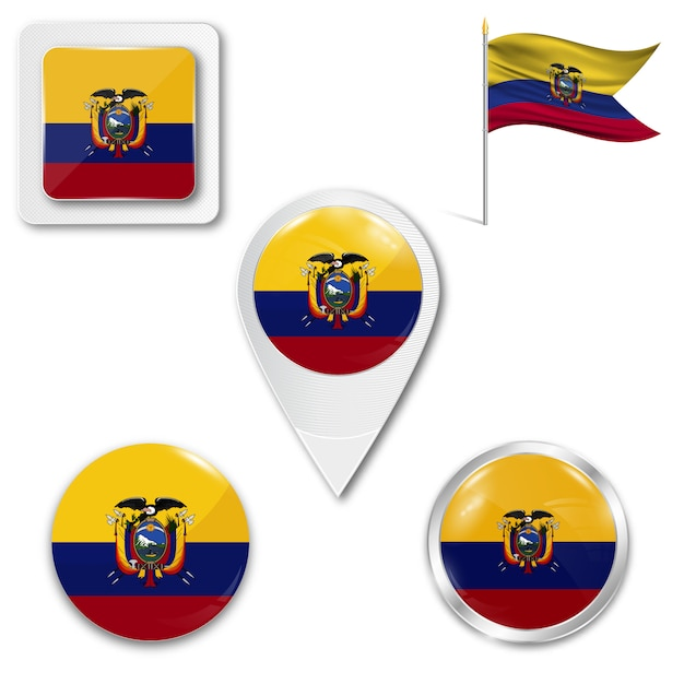 Set icons national flag of ecuador Premium Vector