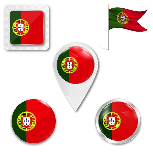 Set icons national flag of portugal Premium Vector