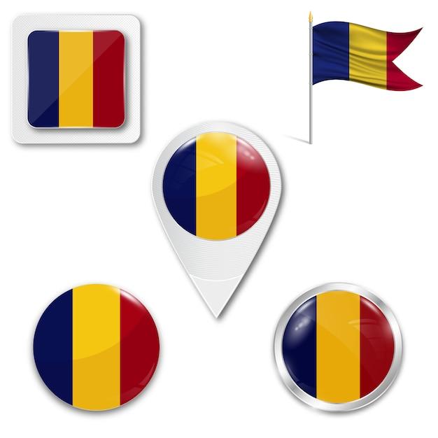 Set icons national flag of romania Premium Vector