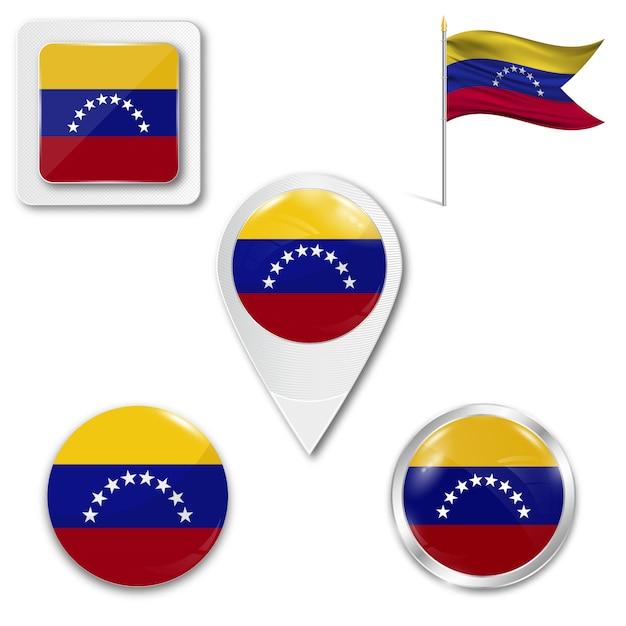 Set icons national flag of venezuela Premium Vector