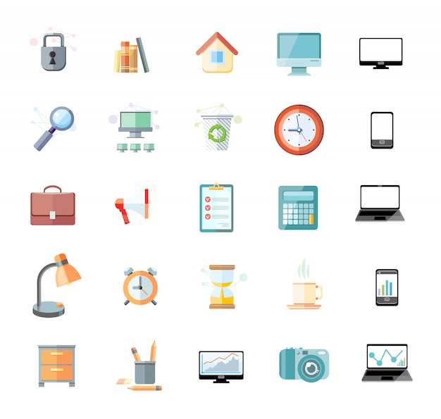 Set of icons for office and time management with digital devices and office objects Premium Vector