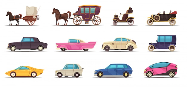 Set of icons old and modern ground transportation including various cars and horse carriages Free Vector