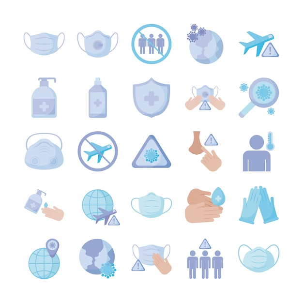 Set of icons prevention, protection of coronavirus , flat style icon Premium Vector
