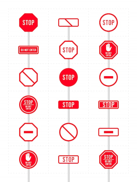 Set of icons for prohibition Premium Vector