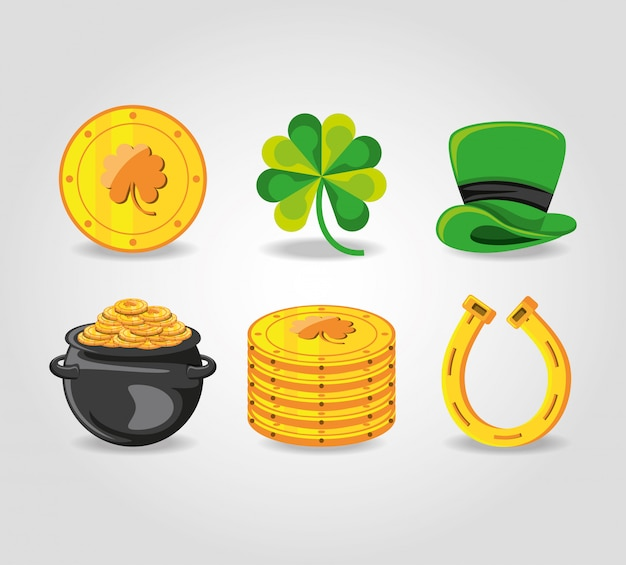 Set icons of st patrick day Premium Vector