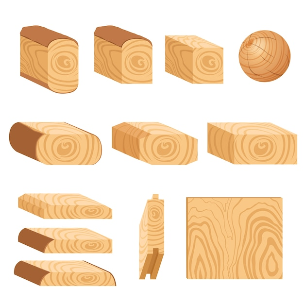 Set of icons of textured wooden boards, bars, and parts of a tree. Premium Vector