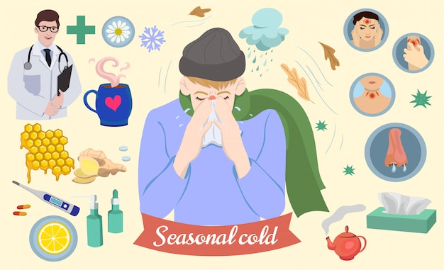 Set of icons on the theme of the common cold.  graphics. Premium Vector