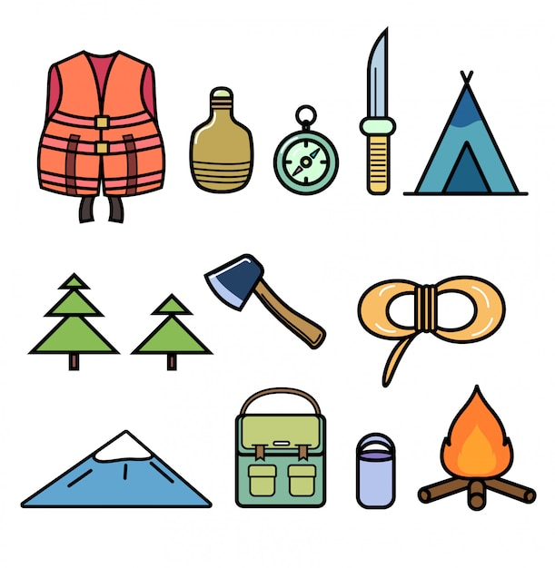 Set of icons on the theme of hiking Premium Vector