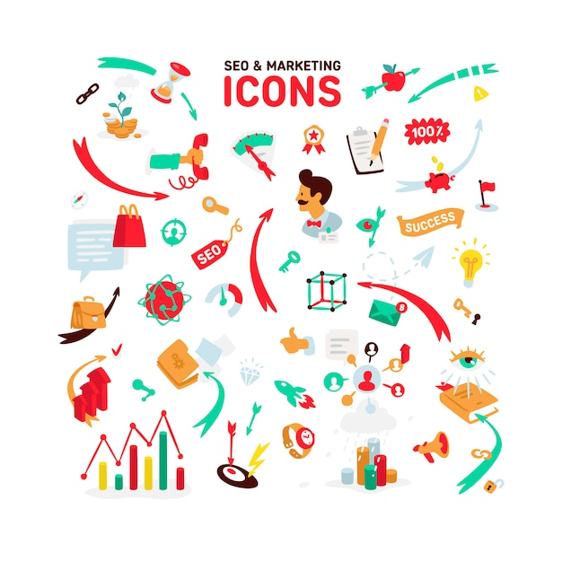 A set of icons on the theme of seo and marketing. Premium Vector