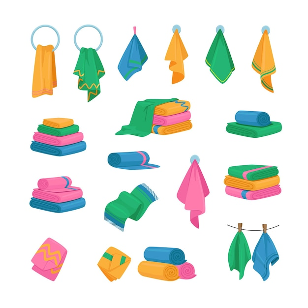 Set of icons towels hanging on hook Premium Vector