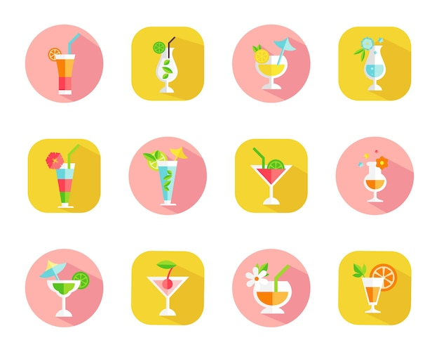 Set of icons of tropical cocktails on colorful web buttons with cocktails in different shaped glasses Free Vector