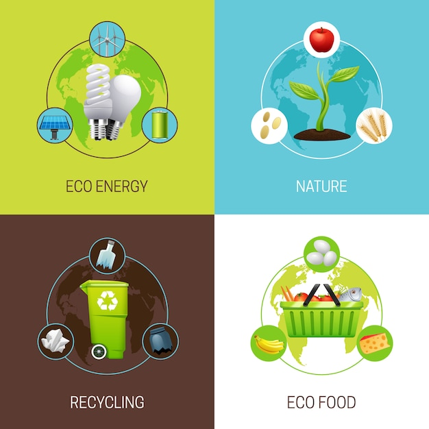 Set of icons with different types of ecology concept illustrations vector illustration Free Vector