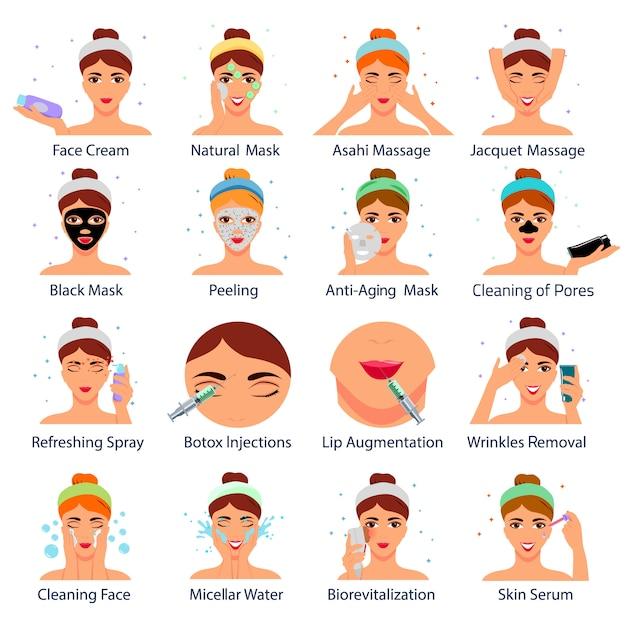 Set di icone con volti femminili durante le procedure cosmetiche Vettore gratuito