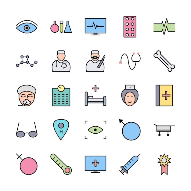 Set of icons with medical theme Premium Vector