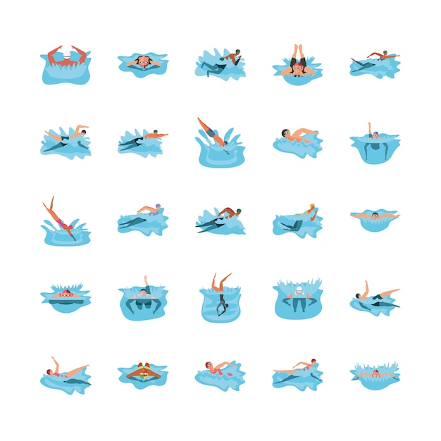 Set of icons with people in swimming Premium Vector
