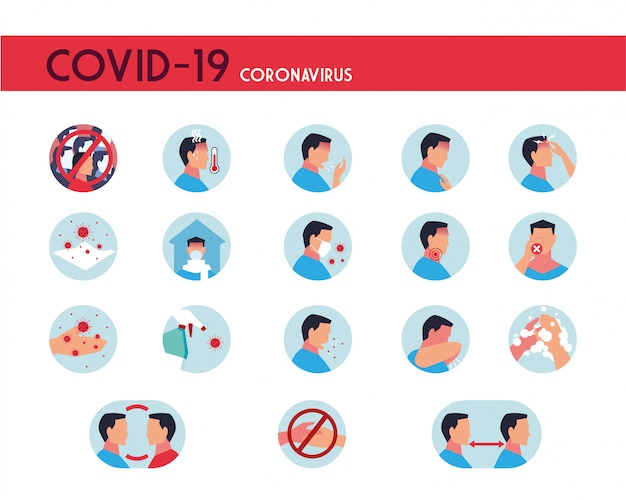 Set of icons with symptoms, prevention and transmission of coronavirus Premium Vector