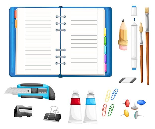 메모장으로 편지지를 설정합니다. 커터, 연필, 브러쉬, 접착제, 지우개, 마커, 숫돌, 버튼 및 종이 클립 흰색 배경에 만화 스타일 일러스트 프리미엄 벡터