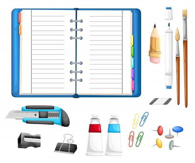 Set if stationery with notepad. cutter, pencil, brushes, glue, eraser, marker, sharpener, buttons and paper clips cartoon style   illustration  on white background Premium Vector