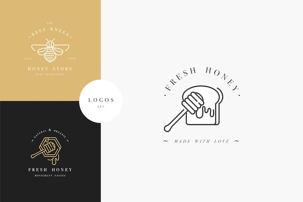 Установить логотипы illustartion и шаблоны дизайна или значки. этикетки и бирки органического и эко-меда с пчелами. линейный стиль и золотой цвет. Premium векторы
