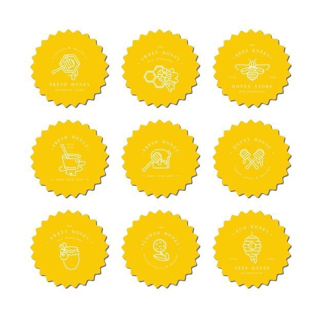 Установить логотипы illustartion и шаблоны дизайна или значки. этикетки и бирки органического и эко-меда с пчелами. линейный стиль. Premium векторы