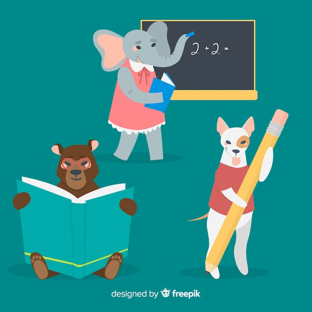 Set of illustrated animals at school Free Vector