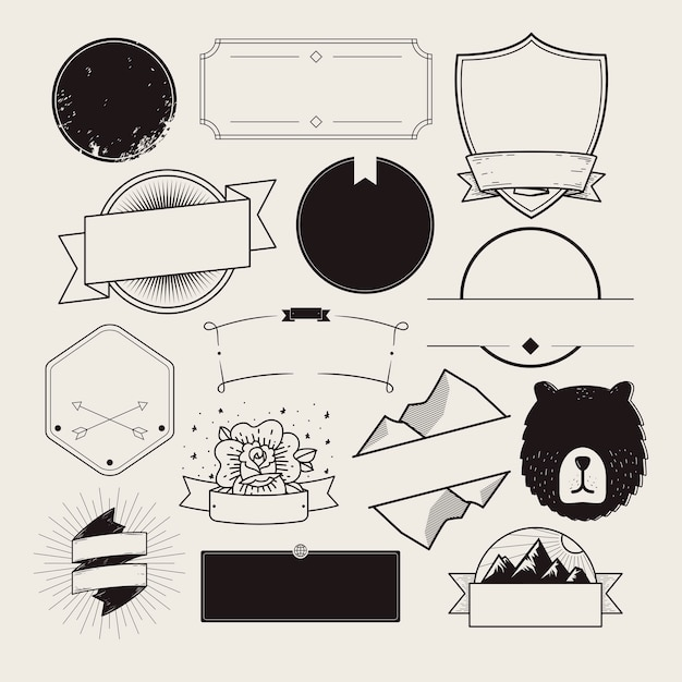 Set of illustrated badges Free Vector