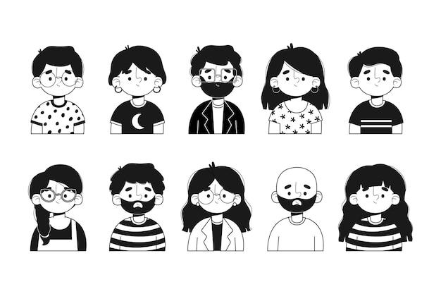 Set di avatar di persone illustrate Vettore gratuito